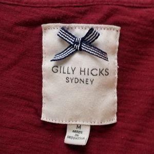 GILLY HICKS SYDNEY | MAROON V-NECK T, SIZE M